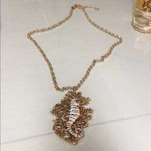 Lilly Pulitzer seahorse gold drop necklace!